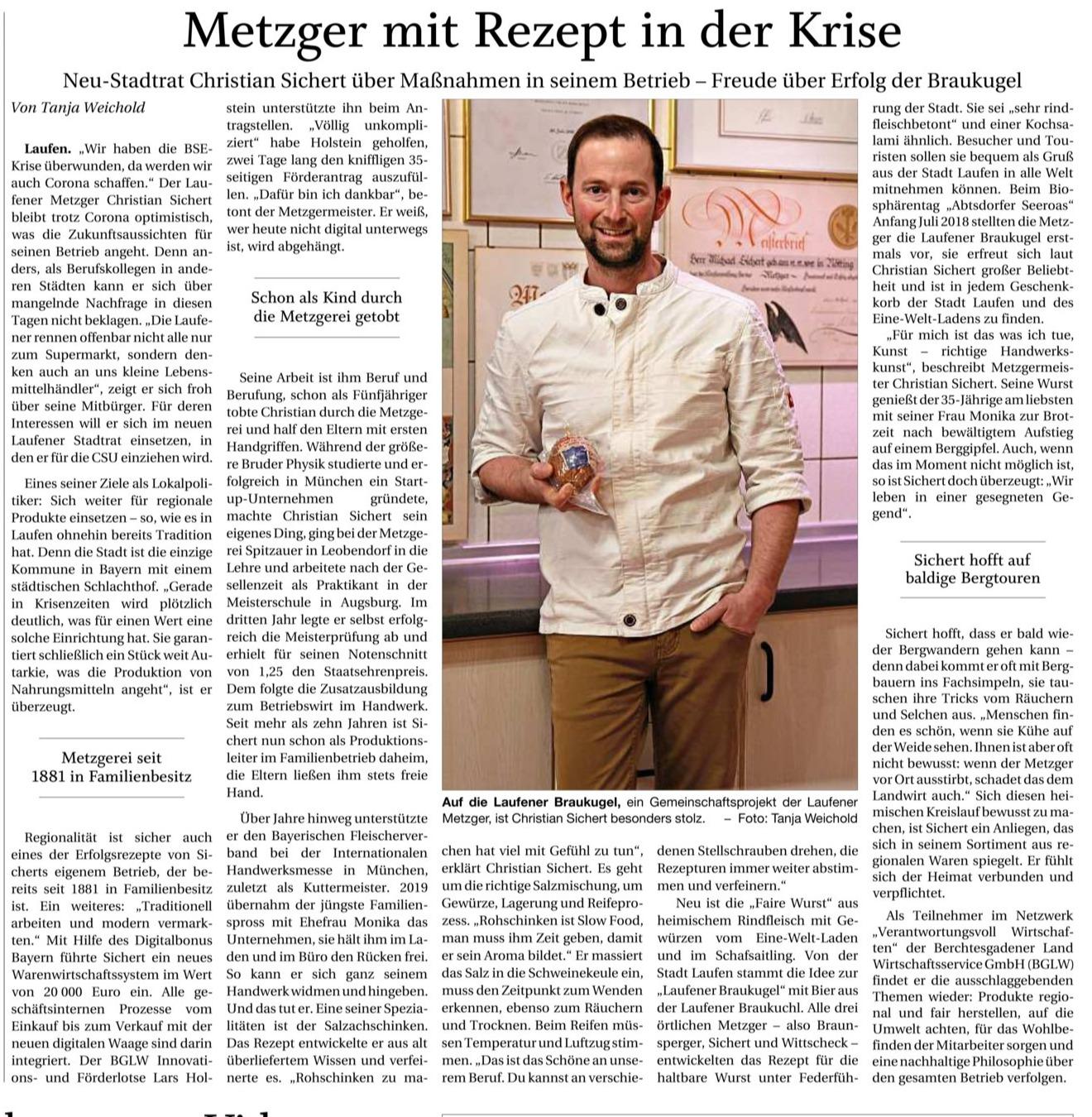 Sichert Reportage Pressebericht PNP