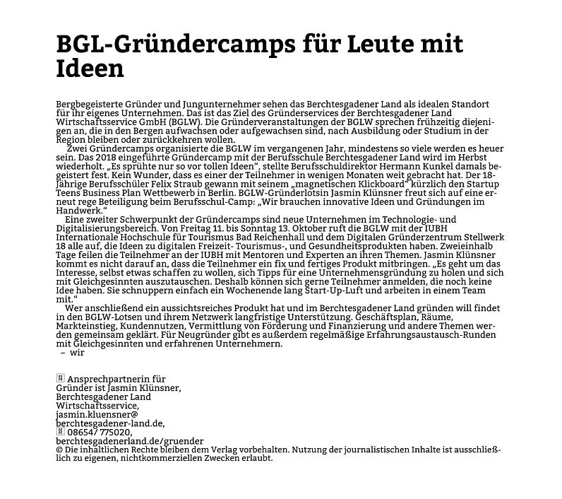 BGL Gründercamps Pressemitteilung PNP
