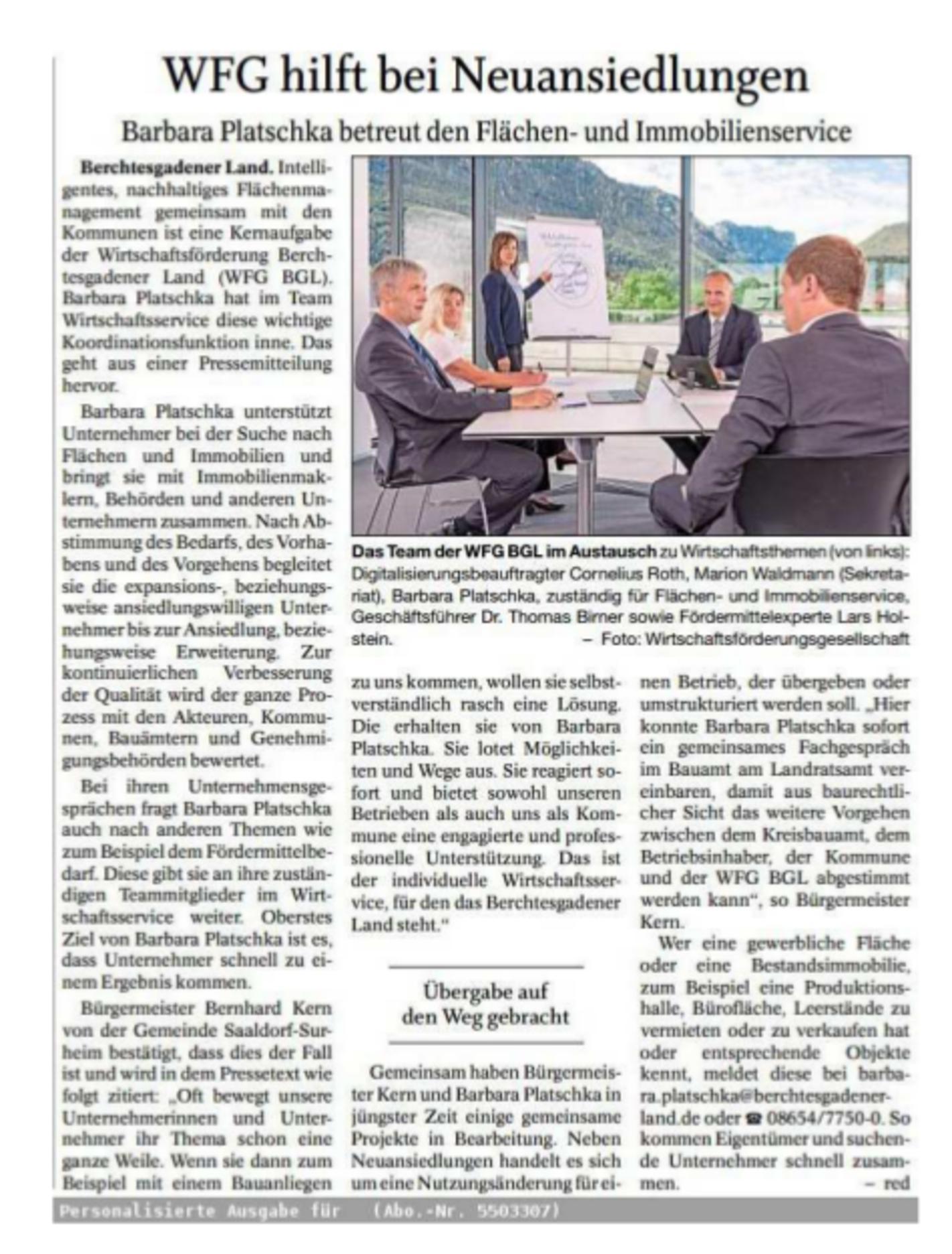 Neuansiedlung - Pressebericht