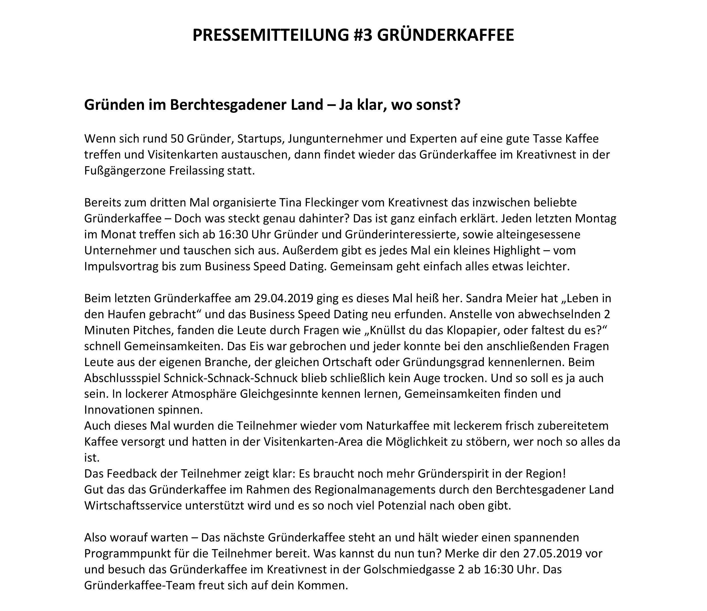 Pressemitteilung Gründerkaffee #3