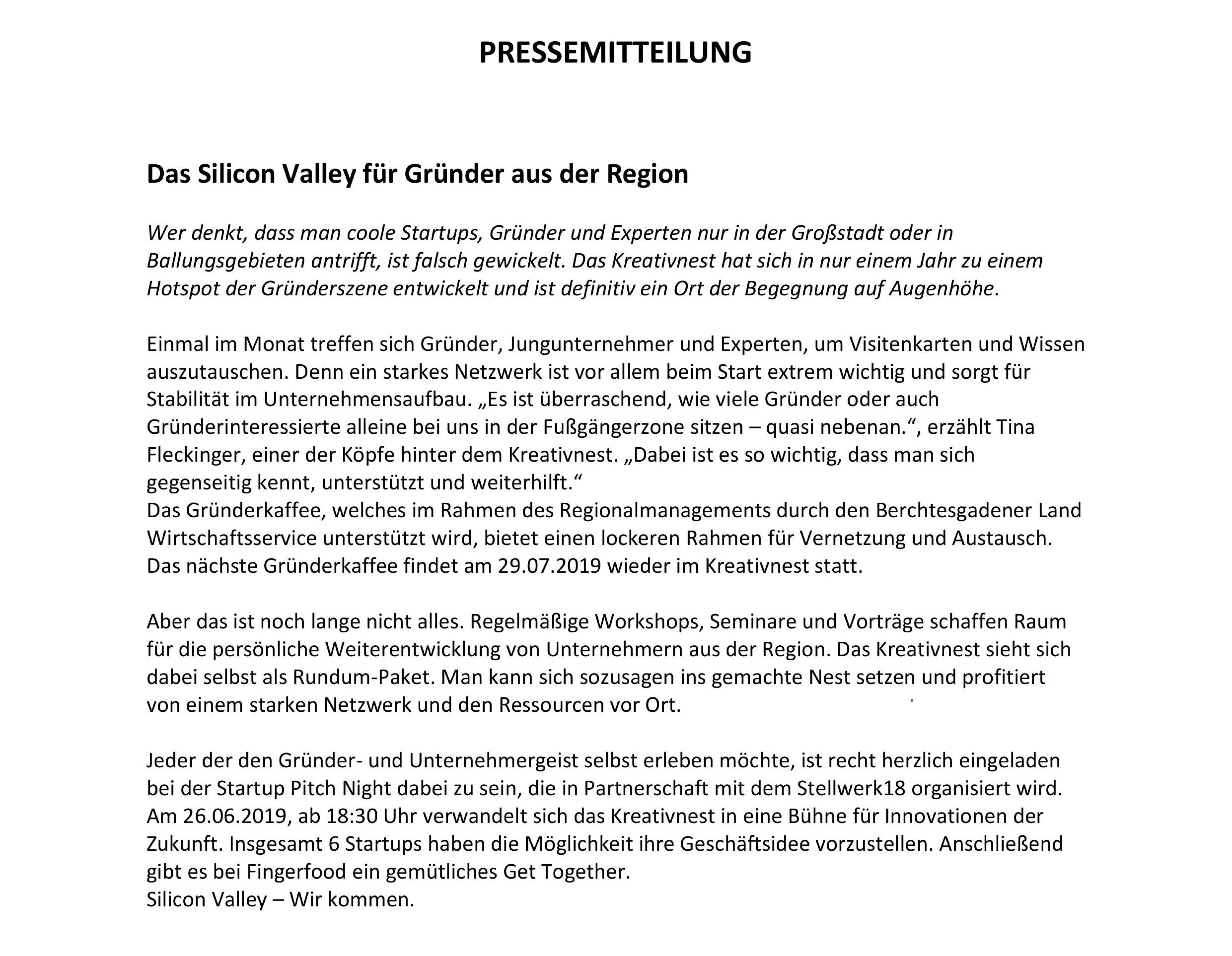 Pressemitteilung Gründerkaffee #4
