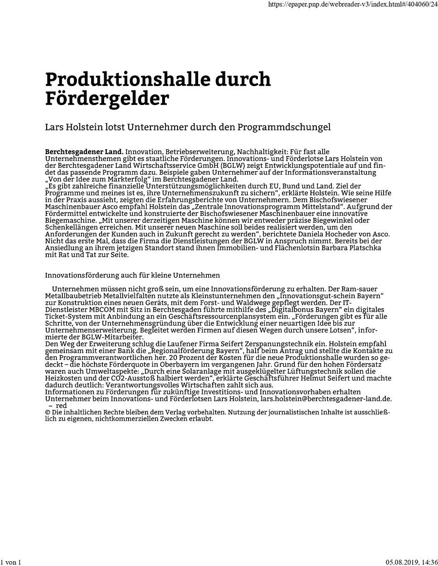 Förderinformationsveranstaltung Pressebericht