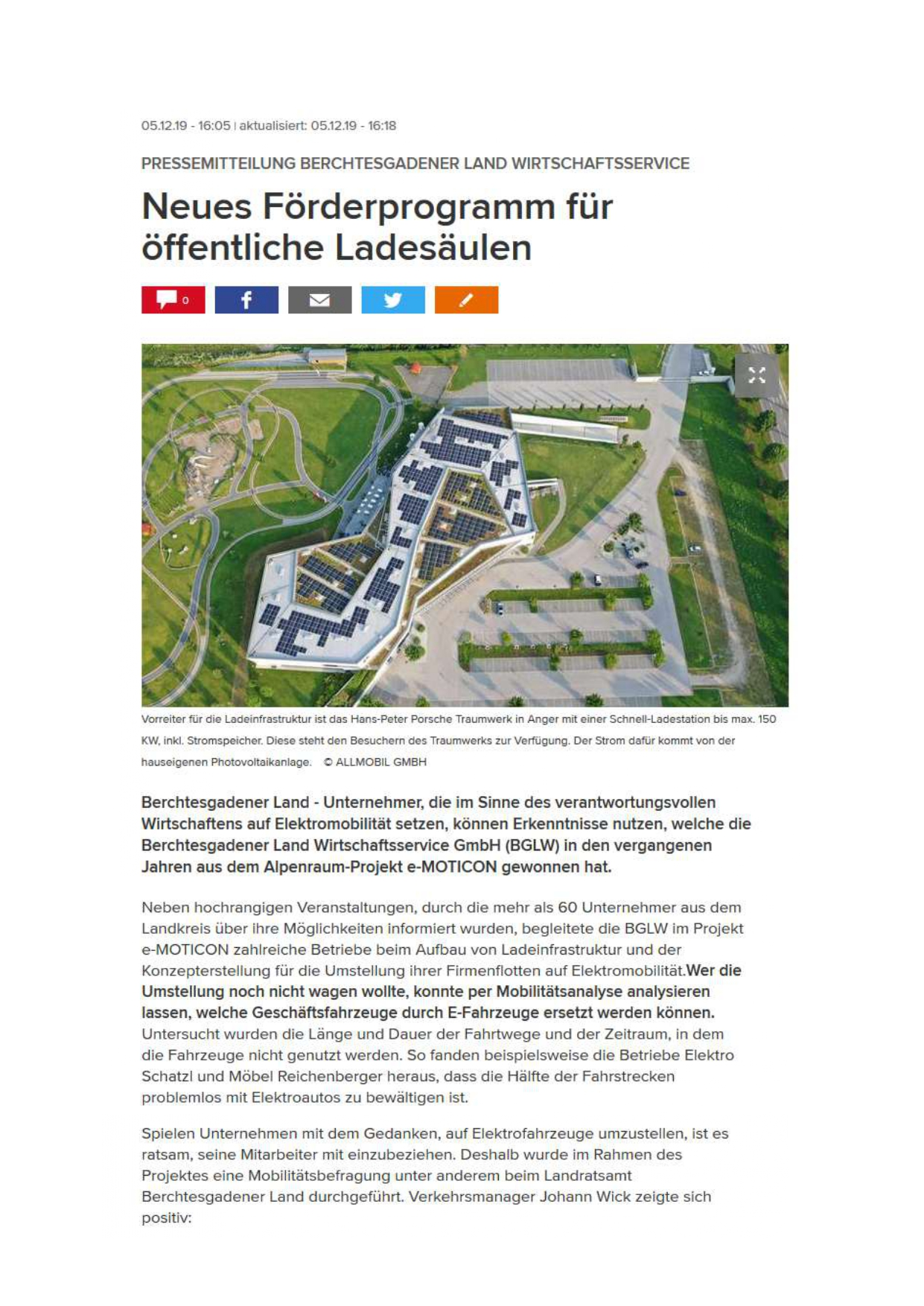 Emobilität im Berchtesgadener Land