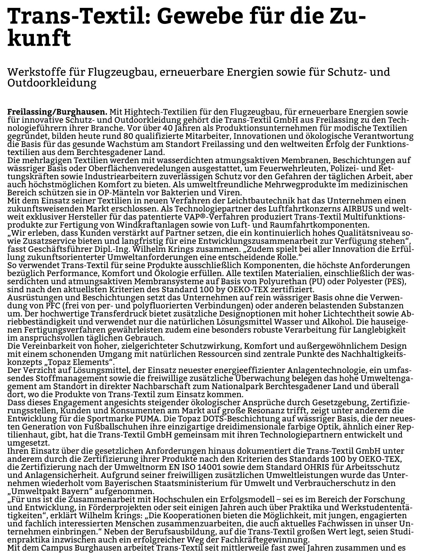 Trans-Textil Pressebericht PNP