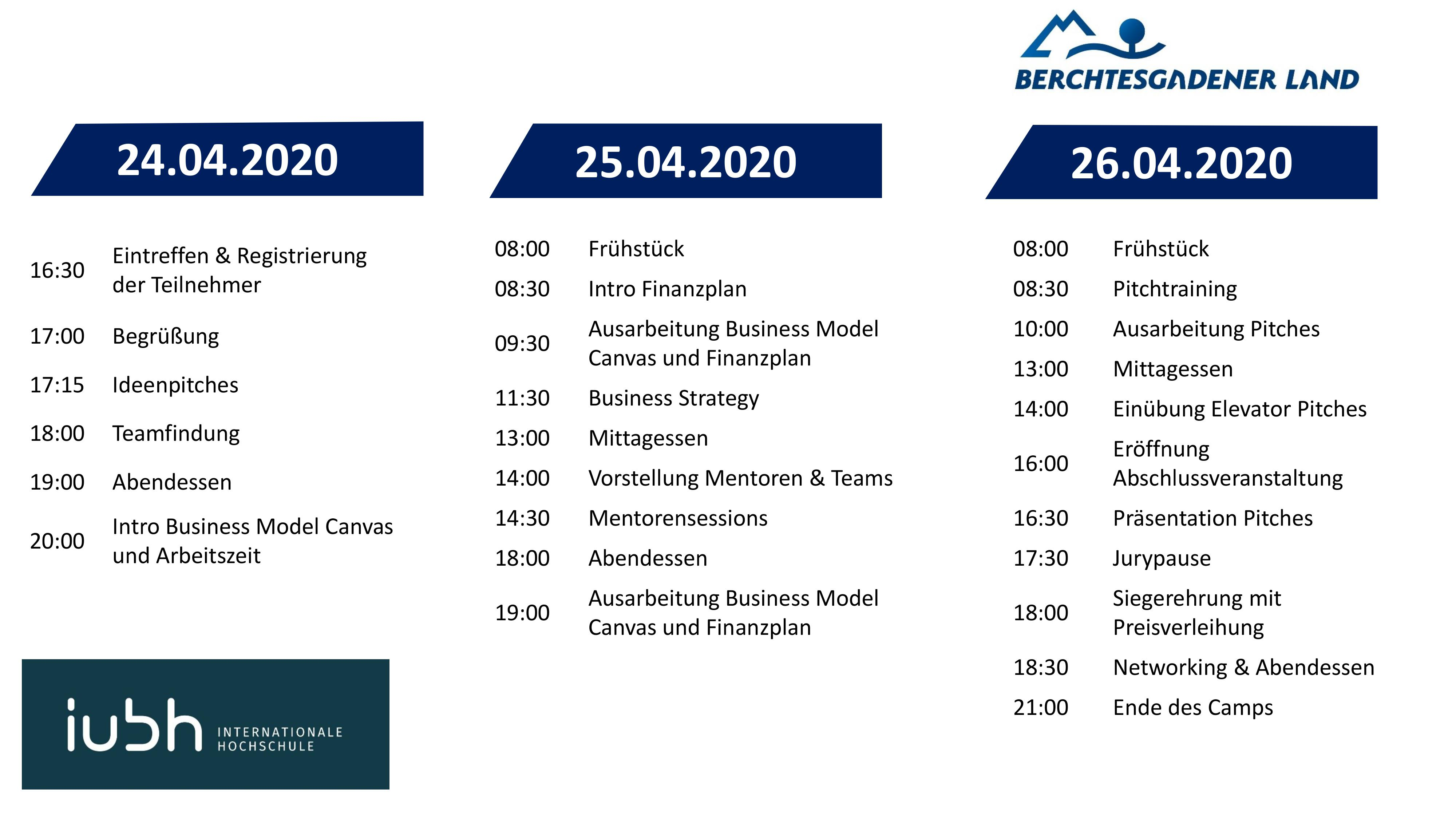 Agenda IUBH Startup Camp 2020