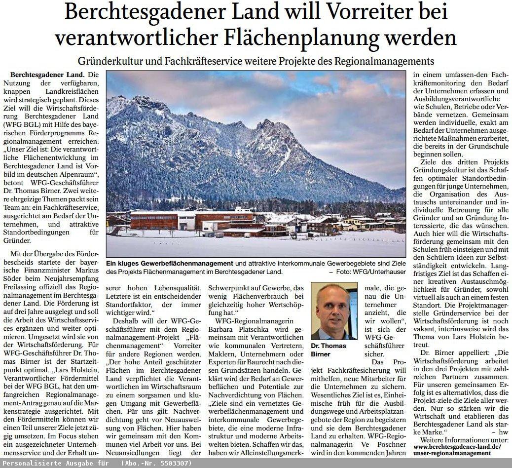 Presseartikel BGL Vorreiter bei Flächenplanung
