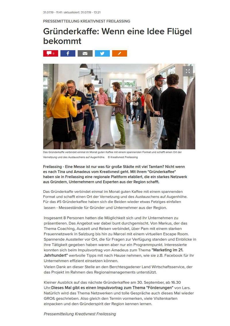 Pressemitteilung Gründerkaffee #5