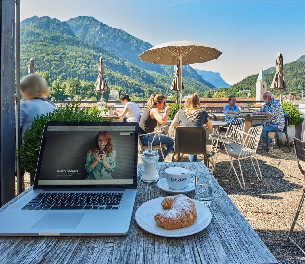 online bleiben in den Bergen